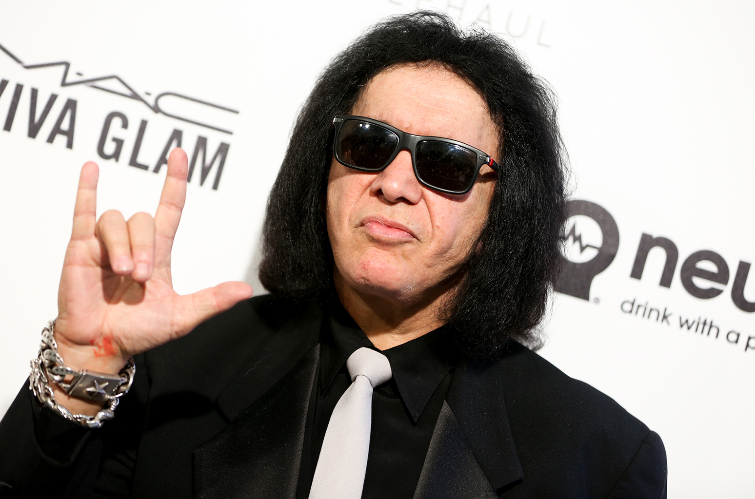 Gene Simmons arrives at the 2016 Elton John AIDS Foundation Oscar Viewing Party at West Hollywood Park on Sunday, Feb. 28, 2016, in West Hollywood, Calif. (Photo by Rich Fury/Invision/AP)