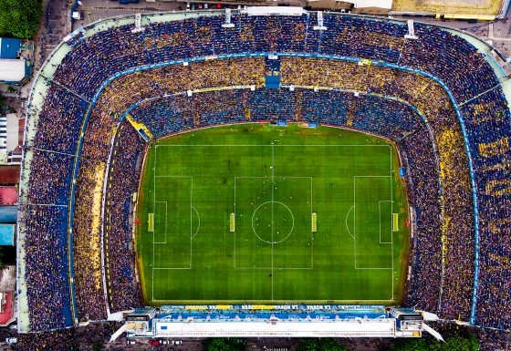 Toma aérea del estadio Alberto J. Armando, mejor conocido como La Bombonera. (Foto: Infobae)