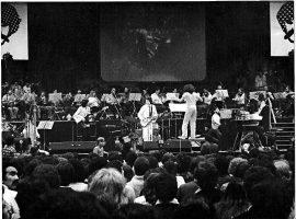 Serú Girán en Obras junto al director de orquesta Daniel Goldberg