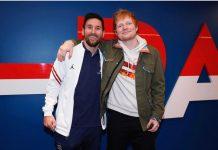 Messi junto a Ed Sheeran